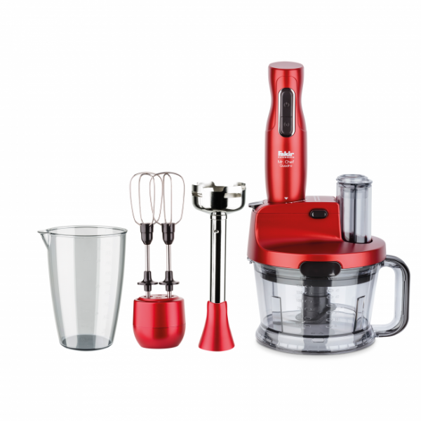 Fakir Mr Chef Quadro | Stabmixer-Set, rot - 1.000 Watt