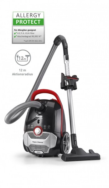 Fakir premium Power TS 720 | Bodenstaubsauger, schwarz/rot/silber - 800 Watt